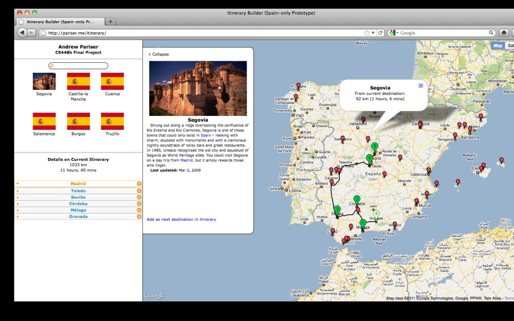 Itinerary Builder Screenshot